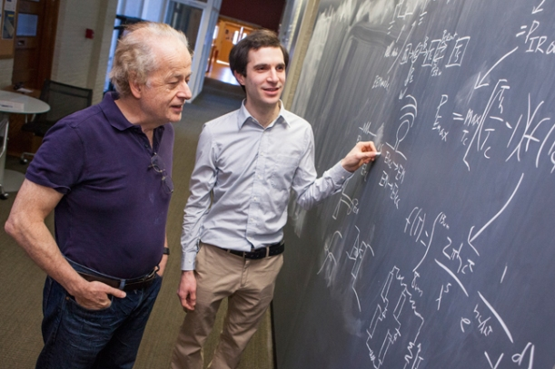 Harvard physicists Federico Capasso (left), Steven J. Byrnes (right), and Romain Blanchard propose a new way to harvest renewable energy. (Photo by Eliza Grinnell, SEAS Communications.)