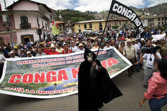 The Grim Reaper joins protest against the Conga Mine