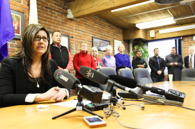 Press Conference Brenda Sayers @ UBCIC w Supporters